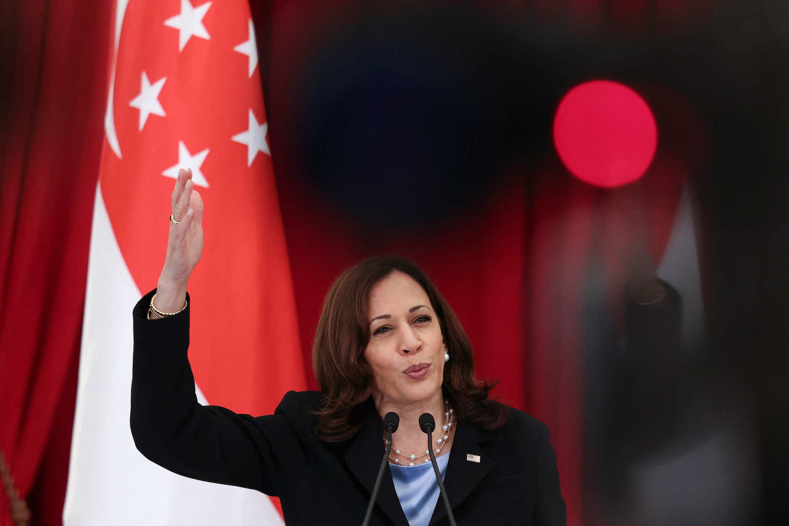 S Vice President Kamala Harris during a joint news conference with Singapore's Prime Minister Lee Hsien Loong in August